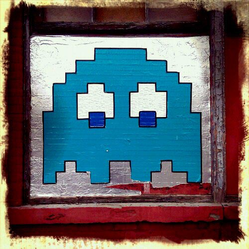 blue pac man ghost, 7th and grand, hoboken, NJ