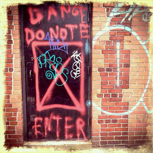 graffiti and warning: danger do not enter, jersey city, NJ
