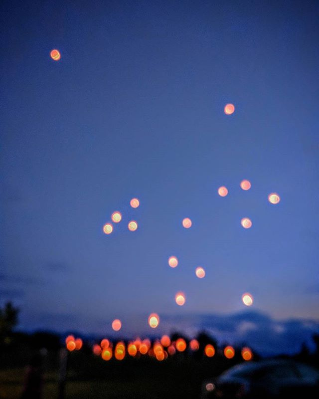 lanterns of hope? blurry because my phone didn't focus. happened upon what we would like to think was a message of peace and hope tonight. a gathering of people in a public park, launching paper lanterns. it was a nice surprise.
